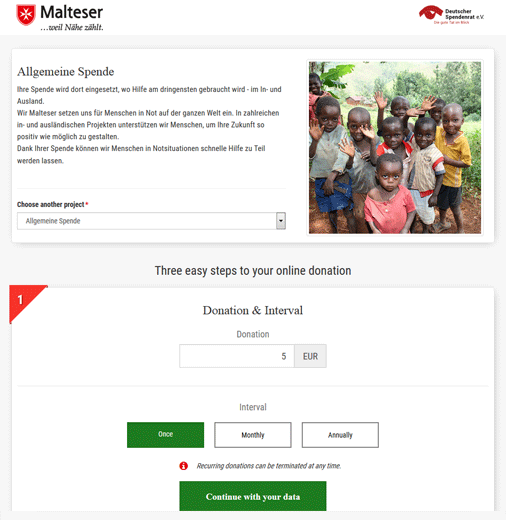Malteser donations form
